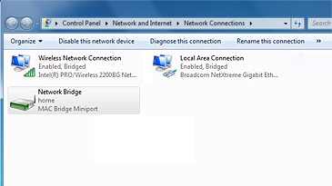 The Network Connections window with Network Bridge selected