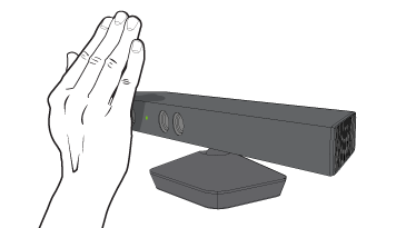 A hand a few inches in front of the Kinect sensor