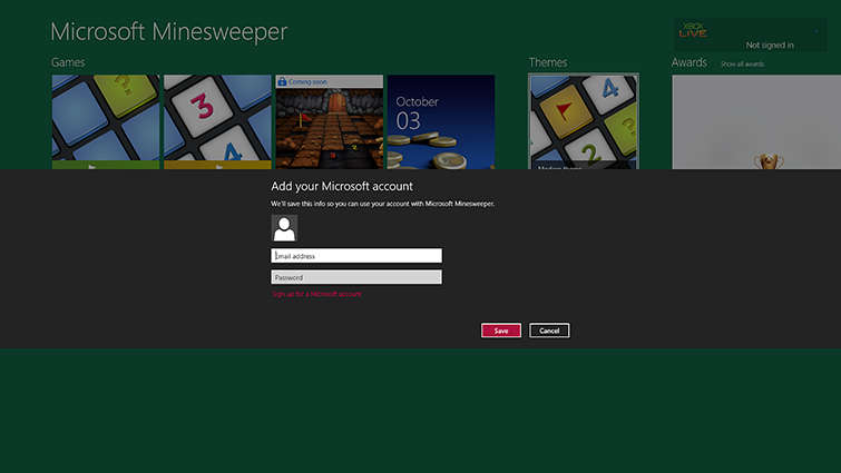 A picture of a games screen in Windows that prompts you to add your Microsoft account email address and password
