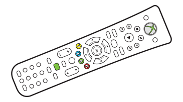 An illustration of the Xbox 360 Universal Media Remote