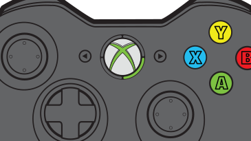 An illustration an Xbox 360 wireless controller with one green light lit around the Guide button.