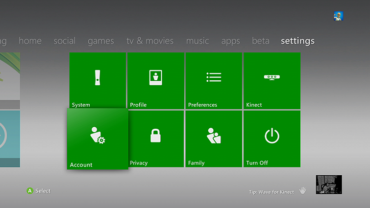 A screen shows the Settings tab on the Xbox 360 Dashboard, with the Account tab highlighted.
