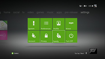 The Family tile is highlighted on the main Xbox settings screen.